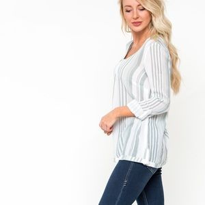 DownEast Stripe Roll Sleeve Blouse Black White S
